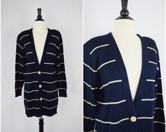 Vintage long striped navy cardigan / soft oversized sweater
