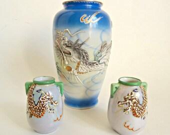 3 Vintage Dragonware Large Vase & 2 Miniature Vase