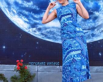1960s psychedelic floral DRESS bright maxi tank spiral fitted bodybon maxi cyan blue talon pinup vintage // size S / XS / Xxs