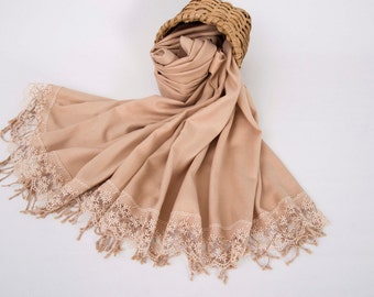 Bridesmaid shawl ,pashmina scarf shawl ,wedding shawl, deep champagne shawl ,french lace shawl
