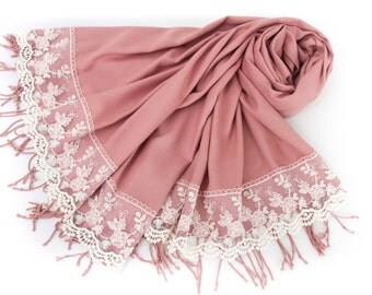 Luxurios  antique  rose pashmina shawl scarf with french lace border  ,bridesmaid shawl, bridesmaid gift -WITH COLOR OPTION