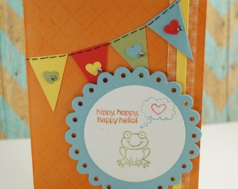 Hello Greeting Card - Handmade Card - Cancer Recovery Card - Stampin Up Cards - Just Because - Frog Card - Bright Card - Card For Friend