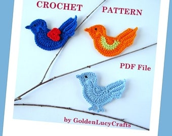 Bird Applique Crochet PATTERN PDF