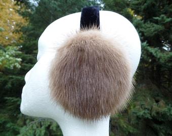 Natural Buff Mink Fur Earmuffs