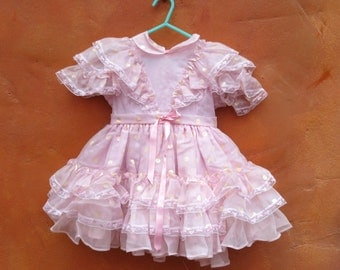 Vintage 1950s 1960s Girl's Pink Chiffon Ruffled Party Dress. Size 4T