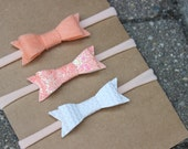 Set of 3 {EMMA} Headbands - Felt Peach, Sparkle Peach, Ivory Basket Weave Faux Leather - Starter Set - Baby Shower Gift