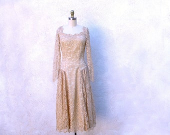 William Cahill Gown, 60s Lace Dress, Beige Tea Length Dress, 1960 Wedding Dress