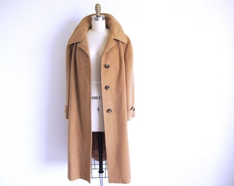 Vintage Camel Hair Coat, 70s Tan Coat, Winter Coat, Ladies Garment Union, Made in the USA