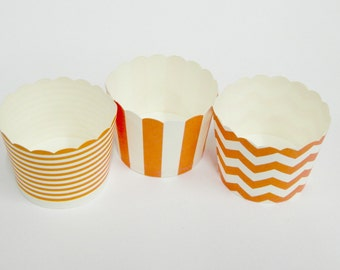 Cupcake Baking Cups, 20 Orange Baking Cups, Candy / Nut Cup, Baking Cups, Ring Stripe, Vertical Stripe, Chevron, Cupcake, Muffin Cup, Baking