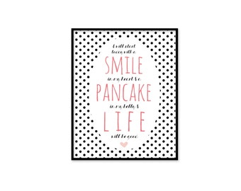 Funny Inspirational Typographic Digital Art Pancake Love Motivational Art Black and White Polka Dot Pink Pancake Art Print Kitchen Art Print