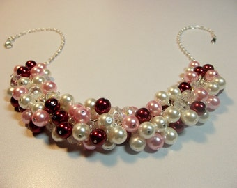 Red Pink White Pearl and Crystal Cluster Necklace, Christmas Valentines Mothers Day Gift, Mom Sister Bridesmaid Wedding Jewelry Gift