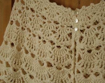SALE - Ivory Wrap, Capelet - lace crochet - merino, silk, cashmere - READY to SHIP