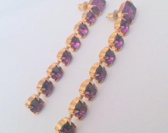 Vintage Prong Set Purple Rhinestone Long Drop Pierced Earrings