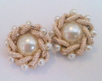 Vintage Gold Tone Pearl Cluster Clip Earrings
