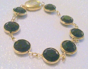 "SAL Swarovski Bezel Set Black Crystal Bracelet  Large 1/2"" Stones 7"" Length"