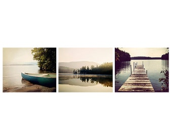 Lake Decor Photo Set, Squam Lake prints, Lake Photography set, dock photo, lake picture, canoe print, lake house, home decor print set