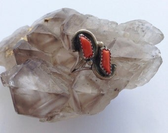 Vintage Sterling Silver Double Coral Zuni Ring
