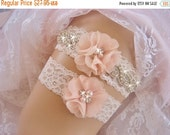 FALL SALE Wedding Garter, Vintage Bridal Garter, Wedding Garter Set, Lace Garter, Toss Garter included Ivory with Rhinestones and Pearls