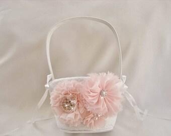 SUMMER SALE Blush Flower Girl Basket, Blush Flower Girl Basket  Elegant 3D