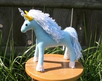 Forget-Me-Not Unicorn ~ Flower Pony Collection, Baby Blue Eco Friendly Stuffed Unicorn, Stuffed Animal, Eco Felt, Spring, Unicorn Plushies