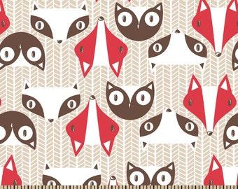 Forest Fox - Raccoon Fabric - Boy Fabric - Baby Fabric - Flannel Fabric - Nursery Fabric - Cotton Fabric - Woodland Fabric - By the Yard
