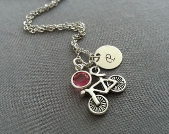 Bicycle Necklace. Initial Necklace.  Silver Bike Pendant. Swarovski Birthstone. Personalized Gift. Sport Jewellery