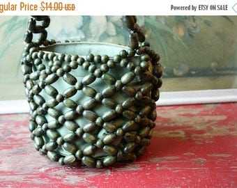 ON SALE %30 OFF Free Shipping 1950's Green Beaded And Satin Handbag By Walborg, Hippie Vintage Bag, Green Summer Tote
