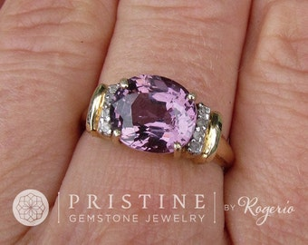 Purple Spinel Ring over 3ct in 10K Yellow Gold with Diamond Accents Gemstone Jewelry Ring