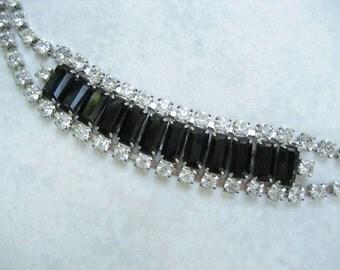 Vintage Rhinestone Bracelet Black Baguette Crystal Chaton Prong Set