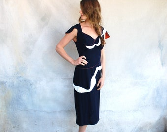 1950s Vintage Tur Zel Miami Beach navy beaded cocktail dress - 50s asymetrical crepe wiggle dress  - M