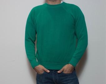 MED-LRG | Vintage Pannill Green Crew Neck Sweatshirt Blank