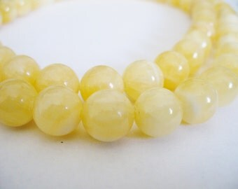 Calcite Beads Gemstone Light Yellow  Round 10mm