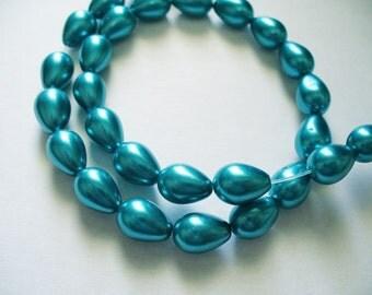 Glass Pearls Teal Teardrop 9x7MM