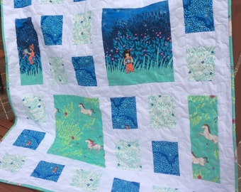 on Sale:   Baby or Toddler quilt -Wee Wander fire flies and horses