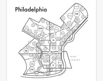 "Philadelphia Map 8"" x 8"" Letterpress. Beautiful Minimalist Simple Graphic Neighborhood Art Print. Cool Travel Poster Design."
