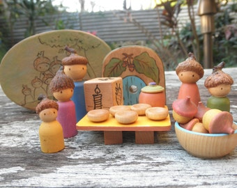 Wooden PLAY SET ACORN Peg Family Mini Accessories-Oval Box-Imaginative Play-Waldorf Inspired
