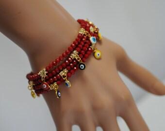 Evil Eye, Dangle Evil Eye Bracelet, Red Crystal Evil Eye, Stretch Evil Eye Bracelet, Gift for her, Good luck charm