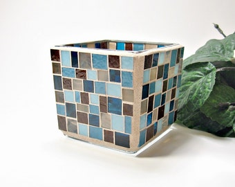 Stained glass mosaic votive candle holder blue brown handmade