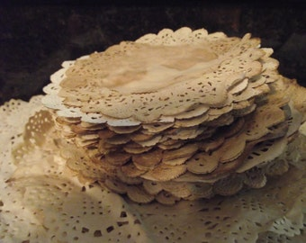 Coffee  Stained Doilies  six inches  20 Doilies