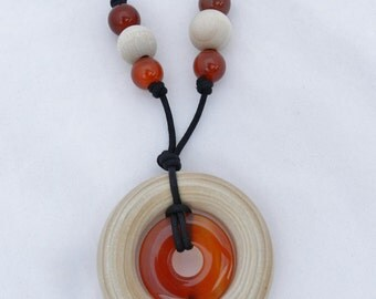 Nursing Necklace with Wood Ring and Stone Pendant