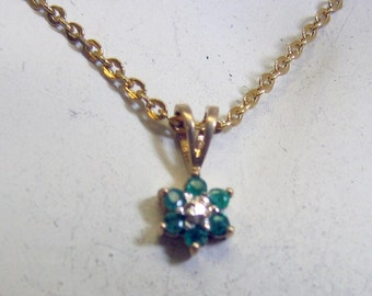 Petite Emerald Pendant Necklace, Vintage, 16 Inch Chain