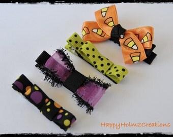 Hair clips and Hair bows, Halloween Hair clips, Baby hair clips, Toddler hair clips, Candy corn, Purple, Halloween bows