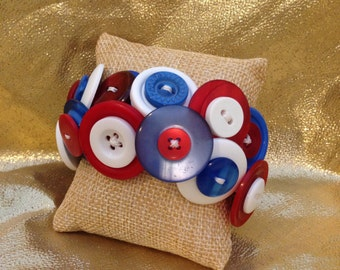 Red, White, and Blue Button Bracelet