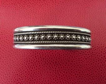 Native American Navajo Sterling Silver Five Banded Cuff Bracelet