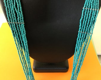 Multilayer Long Turquoise Seed Bead Necklace