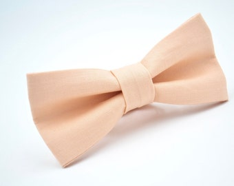 Mens Bow Tie in Ice Peach, Adjustable Bow Tie, Pre-Tied Bow Tie, Wedding Bow Tie, Groomsmen Bow Tie, Solid Peach Bow Tie, Light Peach Bowtie