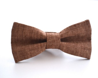 Mens Bowtie in Brown Linen, Groomsmen Bow Tie, Groom Bow Tie, Wedding Bow Tie, Rustic Wedding, Adjustable Bow Tie