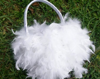 White Feather Flower Girl Basket