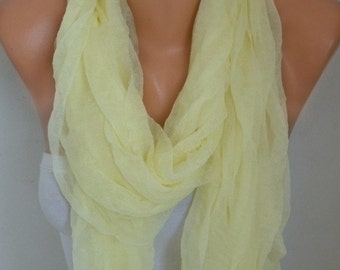 Light Yellow Tulle Scarf,Wedding Scarf,Bridal Scarf,Gift Ideas for Her,Women Scarves