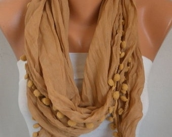 Mustard Pompom Scarf , Fall Fashion Scarf, Shawl, Cowl Scarf Gift Ideas For Her Women Fashion Accessories Women Scarves